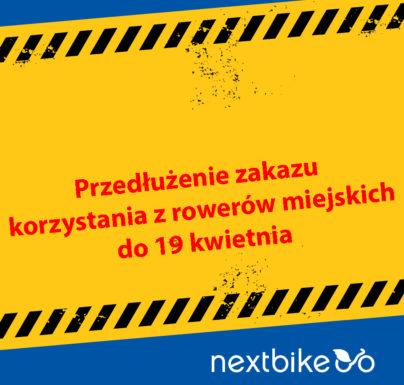(Polski) Przedłużenie zakazu korzystania z rowerów miejskich do 19 kwietnia